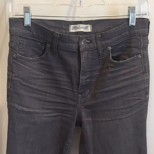 Stretchy grey high-rise skinny jeans, size 27